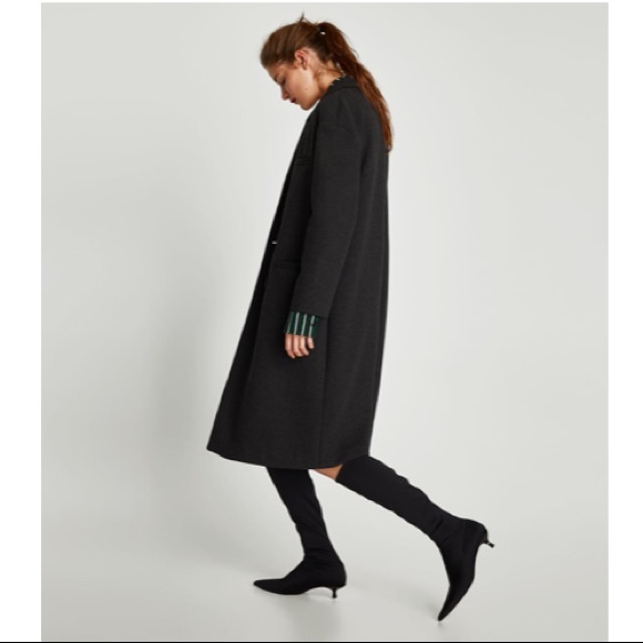 b2df2b4a332 Zara elastic kitten heel black sock boots knee